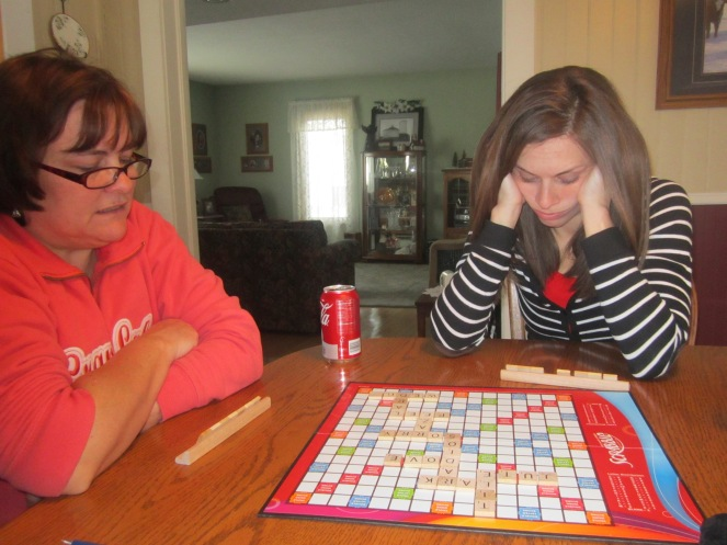 Beany & Jenna Playing Reindeer Games (AKA Scrabble)
